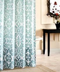 nicole miller fabric shower curtain damask ombre aqua blue teal