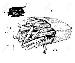 Vector vintage french fries drawing Hand drawn monochrome fast food illustration Great for menu