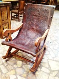 Hand Tooled Leather And Hand-carved Solid Wood Chair By The Rustic ...
