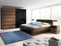 schlafzimmer set bett 180x200cm monastery eiche schwarz hochglanz kleiderschrank nachttisch