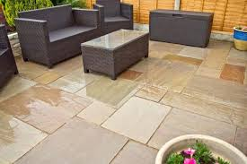 Full Image For Autumn Brown Indian Sandstone Paving Slabs Natural Patio Stone Garden Kit Concrete