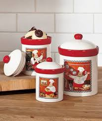 Fat Italian Chef Kitchen Theme by Fat Chef Canisters Set Italian Bistro Cookie Jars Set Red White