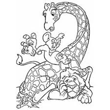 Lion And Giraffe Jungle Animal Hippopotamus Coloring Pages