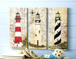 Lighthouse Wall Decor Nautical Lighthouse Canvas Wall Art Set 3