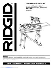 Ridgid Tile Saw Water Pump by Ridgid Wts2000l Manuals