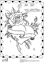 Rose Heart Valentine Coloring Pages Adults Free Download Printable Cards Full Size