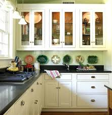 1920s Kitchen Cabinet L Shaped Cabinets Design Ideas With Black And Glass Doors Featuring