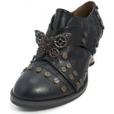 icon black steampunk style womens oxford shoe with low heel