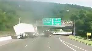 100 Truck Crashes Caught On Tape Carrying Candy Overturns In Mahwah NJ Roadrage Crash