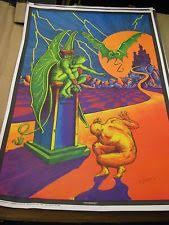 Vtg 70s Orig Bill Hoorman Condemned Linen Paper Black Light Poster NOS 23