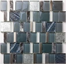 glass mosaic wall tile kitchen backsplash sgmt163 grey