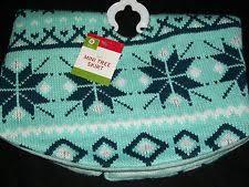 Teal Blue Knit Mini 18 Christmas Tree Skirt Sweater Snowflake Holiday Miniature