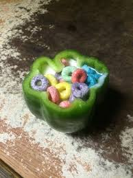 Froot Loops In A Bell Pepper Bowl
