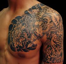 Chest And Half Sleeve Dragon Tiger Tattoo