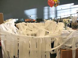 toilet papered cubicle hehe reminds me of something lmbo
