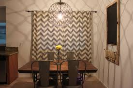 Cool Chevron Curtain Design In Brown White Feature Black Bronze Track For Dining Room