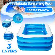 74 x56 familie aufblasbare pool badewanne schwimmbad planschbecken schwimmbecken 188x142x68cm blau