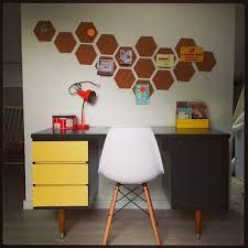 nuniya cut cork tiles into hexagons for more artistic bulletin