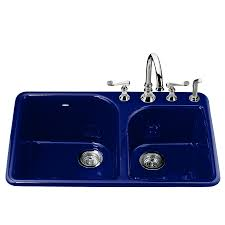 Kohler Executive Chef Sink Accessories by Shop Kohler Executive Chef 22 In X 33 In Iron Cobalt Double Basin