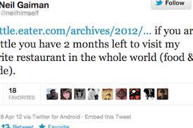 100 Elemental Seattle Is Neil Gaimans Favorite Restaurant Eater