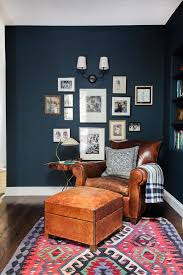 Emily Henderson Hague Blue Reading Nook Leather Chair Gallery Wall Bookshelves5
