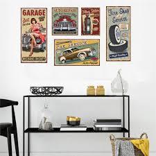 100 Sexy Living Rooms Retro Car Sticker Girl Wall Sticker Removable For Room Wall Sticker
