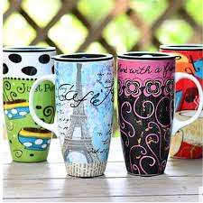 2016 Vintage Color Printing Chinese Drawing Large Size 20oz Ceramic Coffee Mug Cups With Lid