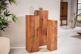 design säule 3er set makassar 80cm mangoholz kaufland de