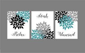 petrol türkis grau schwarz badezimmer wand kunstdrucke relax soak unwind blumen blätter neutral badezimmer dekor instant 8 x 10 satz 3