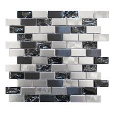 mosaic tile stainless steel and crackled glass mosaic mix