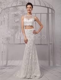 two piece crop top illusion neckline lace mermaid wedding dress