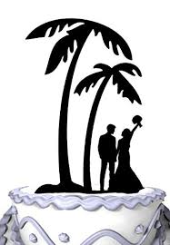 Amazon Meijiafei Bride And Groom Under Palm Tree In Beach Wedding Cake Topper Kitchen Dining