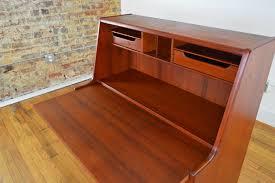 Drop Front Secretary Desk by Danish Mid Century Teak Secretary Galaxiemodern