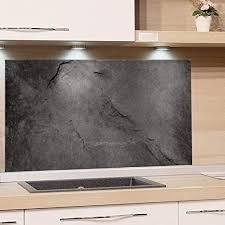 grazdesign küchen spritzschutz glas bild motiv granit grau marmor glasbild als küchenrückwand küchenspiegel wandschutz küche herd 80x50cm