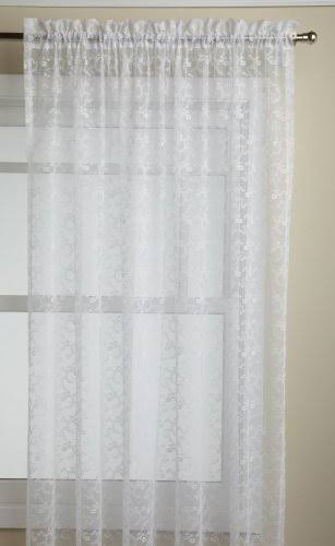 "Priscilla Lace Curtain, 60""W x 72""L Rod Pocket Panel White"
