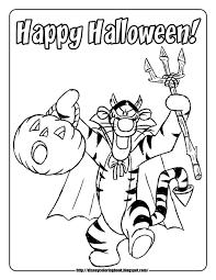 Free Disney Halloween Coloring Pages Piglet Pumpkin Happy Tigger