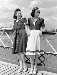 Two Ladies Looking Nautical In The 1940s Vintage Fashion EMGN4