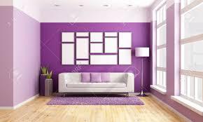 helles wohnzimmer mit modernen lila wand und großen hölzernen fenster rendering