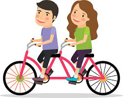 Couple Riding Tandem Bicycle Vector Art Illustration