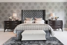 Fascinating White Bench And Grey Bed In The Modern Decorating Ideas For Bedrooms With Wooden Dressers
