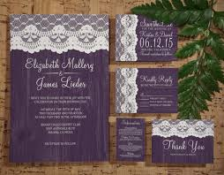 Rustic Printable Wedding Invitations Combined With White Lace Decoration And Wording Text On Sweet Purple Background