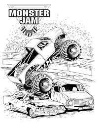 Monster Jam Crushing Cars | Kids' Coloring Pages | Monster Truck ...