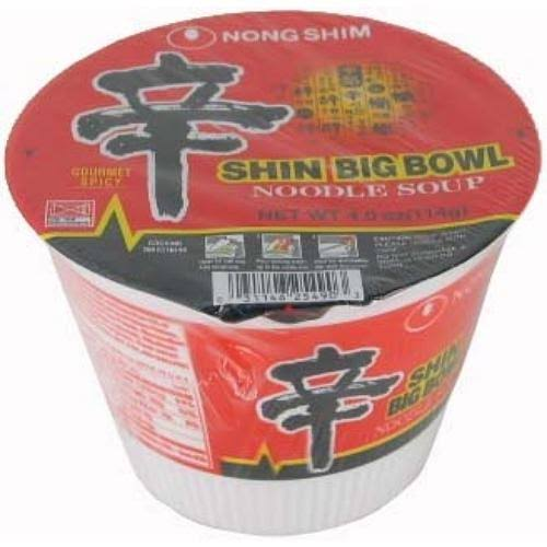 Nong Shim Noodle Soup, Shin Big Bowl, Gourmet Spicy - 12 pack, 4 oz packages