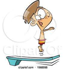 Cartoon Boy Bouncing On A Diving Board By Toonaday