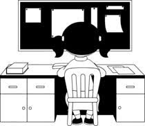 Black White Girl Sitting On Chair Doing Study Work Clipart Size 112 Kb