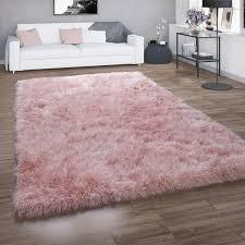hochflor teppich shaggy für wohnzimmer mit glitzer garn einfarbig in rosa