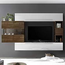 alcamo tv wand modern weiß und dunkelholz weiß de