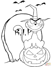Click The Halloween Cat On Pumpkin Near Tombstone Coloring Pages