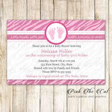 30 Printed Cards Pink Footprints Zebra Baby Shower Invitation Pink
