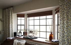 Living Room Curtain Ideas With Blinds by Roman Blinds In A Bay Delectable Window And Curtains Windows
